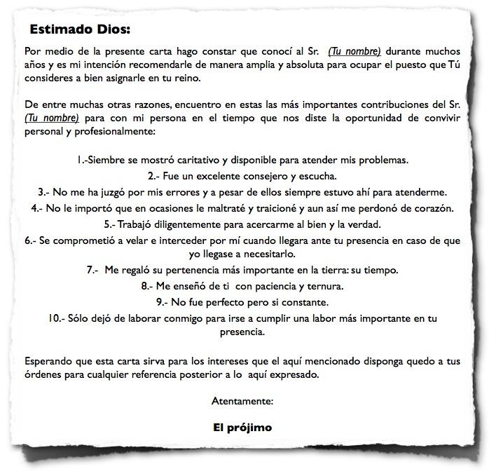Carta de recomendación | Diario de un católico: notas y apuntes de la fe  católica